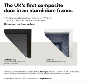 Contech Conservatories is delighted to announce that it is now supplying the new Virtuoso aluminium composite door and frames.