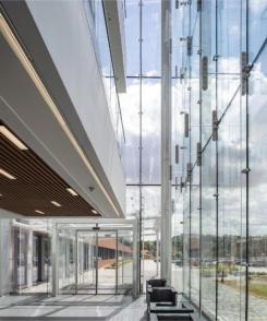 Pilkington Building Products - Pilkington UK delivers glass centre piece in Aldi HQ makeover